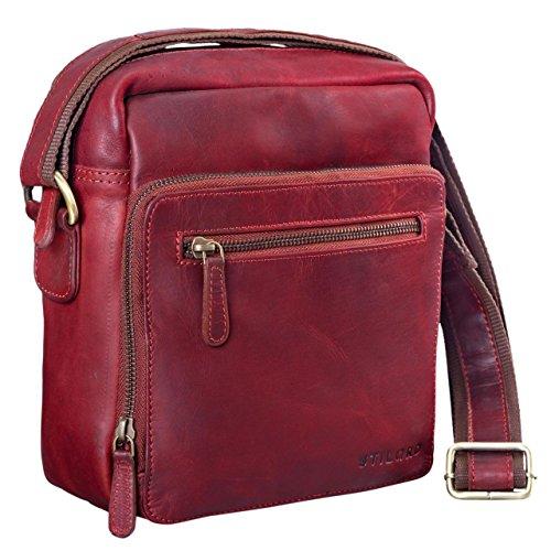 Stilord 'nathan' Sac en bandoulière en cuir pour hommes Petit sac bandoulière en cuir pour excursions de voyage, Couleur: cognac Marron foncé Rouge
