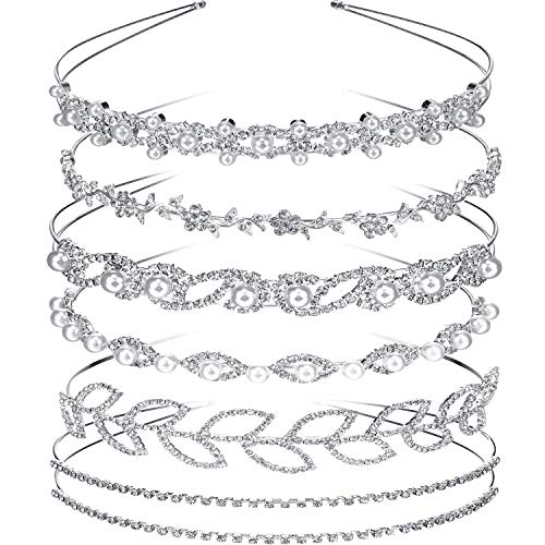 Tatuo 6 Pieces Bride Bridesmaids Crystal Flower and Leaves Crown Headband and Women's Girl's Faux Pearl Rhinestones Headdress for Wedding -