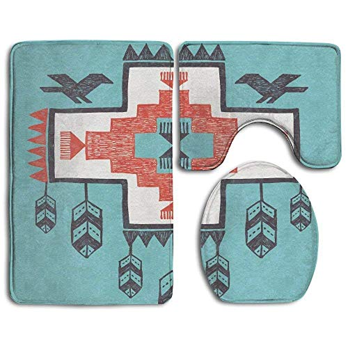 (CuteToiletLidABC Bathroom Rug Native Ethnic Indian Aztec Hand Drawn Dreamcathcher Folkloric Icons Birds 3 Piece Bath Mat Set Contour Rug and Lid Cover)