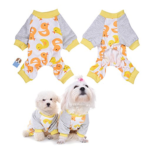 Samber Cute Duck Cotton Pajamas Clothes Jumpsuit for Pet Dog,M (Dog Elf Outfit)