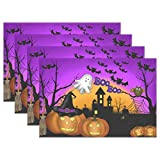 Naanle Halloween Placemats Set of 4, Ghost Owl Pumpkin Heat-Resistant Washable Table Place Mats for Kitchen Dining Table Decoration