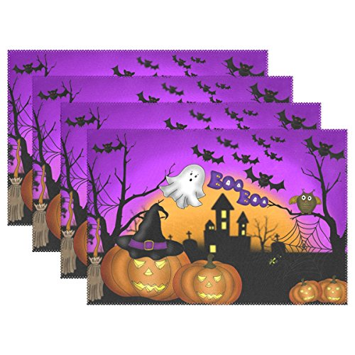 (Naanle Halloween Placemat Set of 6, Ghost Owl Pumpkin Heat-Resistant Washable Table Place Mats for Kitchen Dining Table)