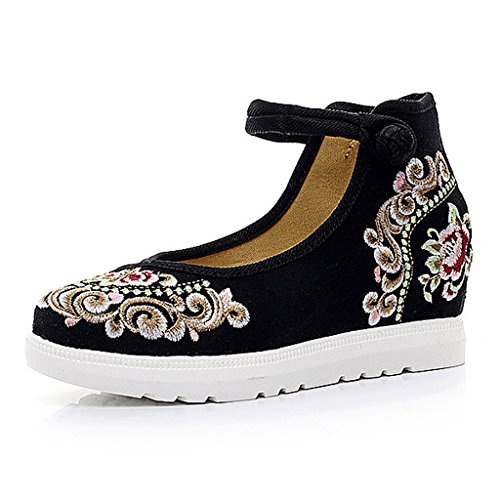 Women's embroidered shoes fall national style thin shoes casual flat shoes ( Color : Black , Size : US:7\UK:6\EUR:39 )