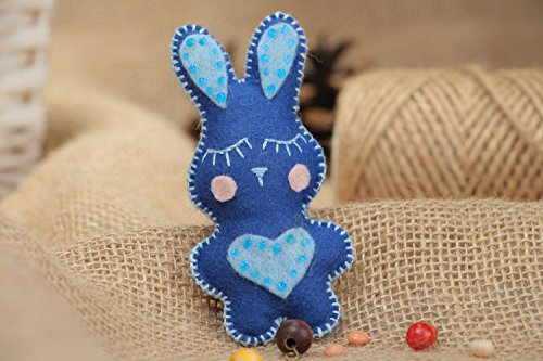 Funny Soft Toy Sewn Of Felt Blue Rabbit For Interior Decoration Homemade