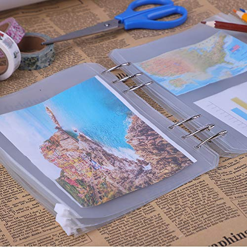 Antner 12 PCS Binder Pockets A5 Size Binder Zipper Folders for 6-Ring Notebook Binder, Waterproof PVC Pouch Document Filing Bags Photo #6
