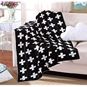 Bluestar Cotton Soft Baby Knitting Blanket, 35 43  Personalized Pattern Cuddle Receiving Swaddle Blanket for Baby Boys Girls (Black&White Cross)
