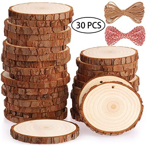 Fuyit Natural Wood Slices 30 Pcs 2.8-3.1 Inches Craft Wood Kit Unfinished Predrilled with Hole Wooden Circles Tree Slices for Arts and Crafts Christmas Ornaments DIY Crafts