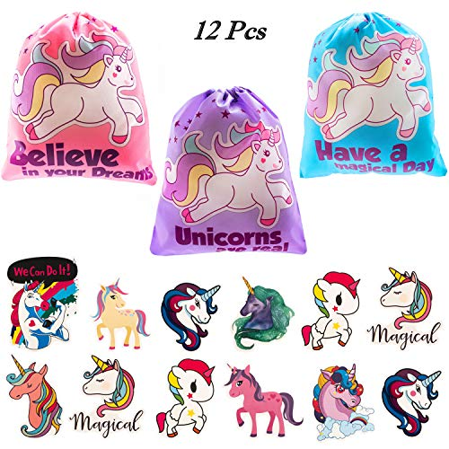 Unicorn Party Bags  (12 Pack )  Adorable Unicorn Drawstring Goodie Bags for Kids Birthday | Includes Bonus Unicorn Stickers | Comes in 3 Colors , Party Favors Treats Loot  Candy Bag for Girls and Boys