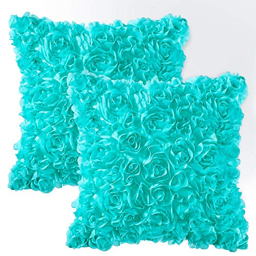 MIULEE Pack of 2 Decorative Romantic Stereo Chiffon Rose Flower Pillow Cover Solid Square Pillowcase for Sofa Bedroom Car 18x18 Inch 45x45 cm Aqua