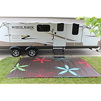Amazon.com : Rv Mat Patio Rug Colorful Floral Design 9x12