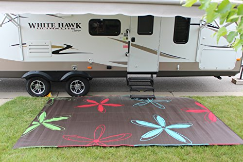 Epic RV Rugs Rv Mat Patio Rug Colorful Floral Design 9x12