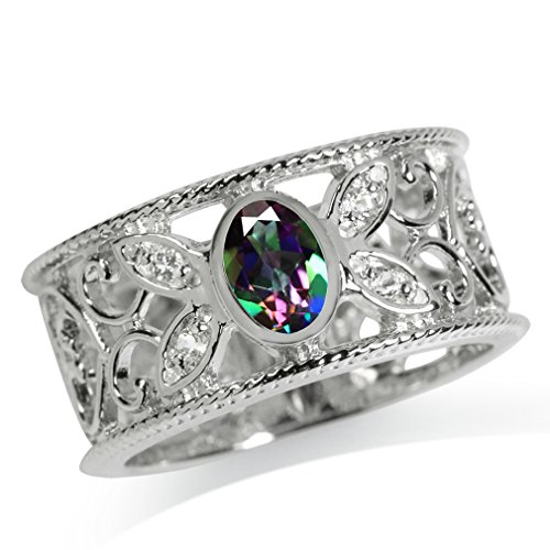 - Mystic Fire Topaz White Gold Plated 925 Sterling Silver Filigree Band Ring Size 6.5