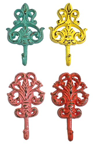 Cast Iron Shabby Chic Fleur de Lis Wall Hooks-Set of 4