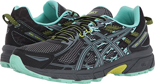 ASICS Womens Gel-Venture 6 (D) Road Running Shoe, Black/Carbon/Green, 6.5 D US