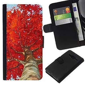 All Phone Most Case / Oferta Especial Cáscara Funda de cuero Monedero Cubierta de proteccion Caso / Wallet Case for Samsung Galaxy Core Prime // Tree Birch Red Leaves Nature