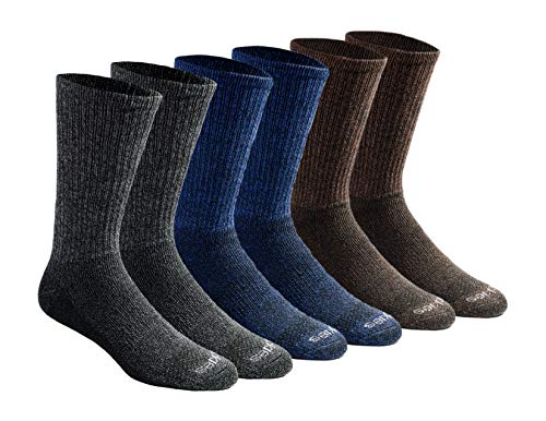Casual Mens Socks - Dickies Men's Multi-Pack Dri-Tech Moisture Control Crew Socks, Grey/Blue/Brown (6 Pair), Shoe Size: 6-12