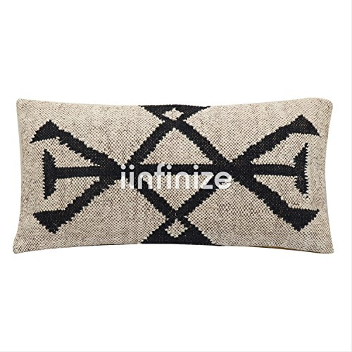 iinfinize - Indian Wool Jute Kilim Pillow Cover Vintage Bohemian Abstract Design Handwoven Rectangle Shape Hippie Throw Home Decor Sham Decorative Stylish Rest Pillow Floor Cushion Cover 12x24 ()