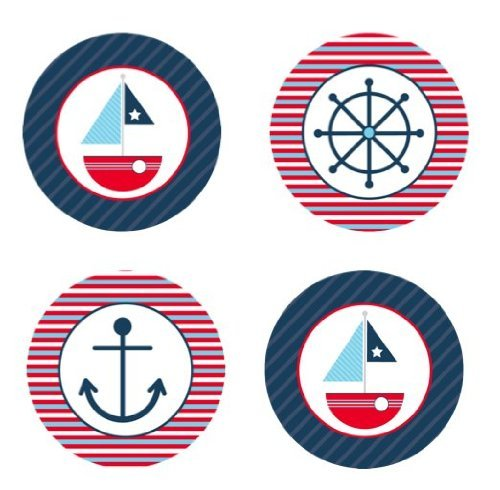 Sailboat Nautical Theme Edible Cupcake Toppers Decoration (Cookies Printed Custom)