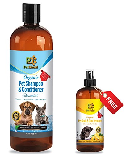 Organic Pet Shampoo and Conditioner 17 oz: Dry Skin Relief, Moisturizing For Shiny & Healthy Hair/Coat, BONUS FREE Carpet Stain & Odor Remover