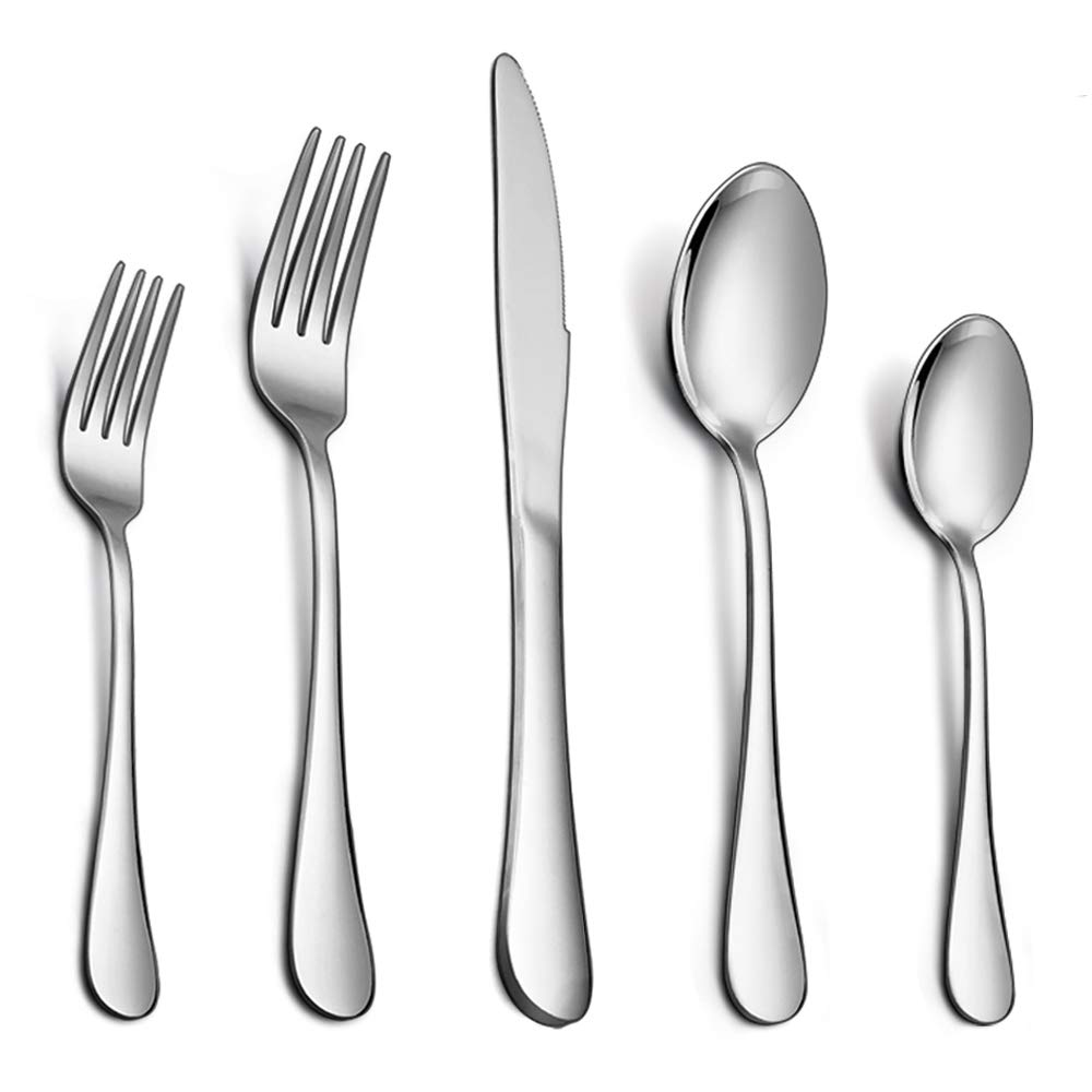 Flatware Set, E-far 20-Piece Silverware Set Stainless Steel Cutlery Set for Kitchen Hotel Restaurant, Mirror Polished & Dishwasher Safe - Service for 4