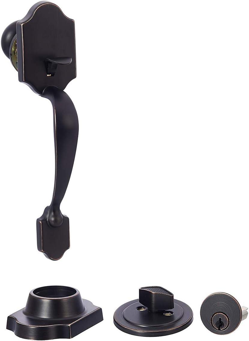 AmazonBasics Standard Exterior Handle Set with Door Knob and Deadbolt, Oil Rubbed Bronze