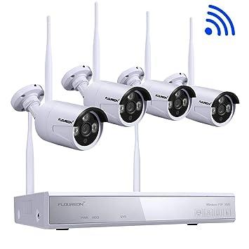 FLOUREON Sistema de Cámara CCTV Inalámbrica Cámara de Seguridad Exterior 4CH 1080P NVR 4X 960P 1.3