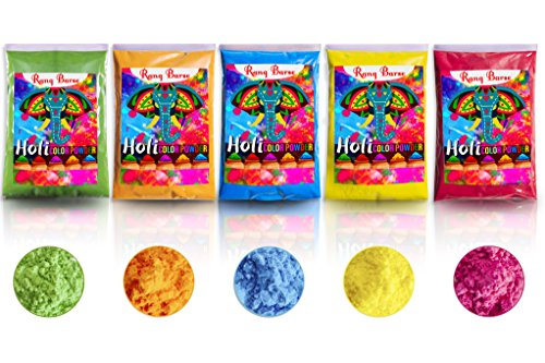 Holi Color Powder by RANG BARSE(TM) - Gender Reveal,Color Runs,Color Wars,Rangoli Powder,Gulal -Premium Colors Soft ON Skin,Non Toxic & Easy Clean -5 Packets 100 GMS x Red,Green,Yellow,Blue,Orange