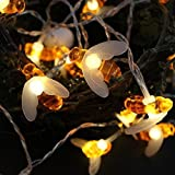VPlus 1M 10LED Battery Operated Bees String Lights Christmas Children's Room Party Animal Decorative Lights Warm White