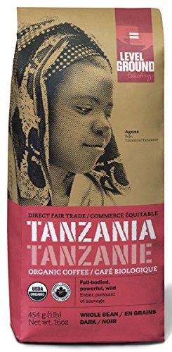Fair Trade Certified Organic Coffee - Tanzanian Certified Organic Fair Trade Dark Roast Coffee Beans 1 lb 454 g