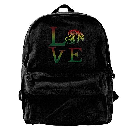 Reggae Bag - Rasta Lion Jamaican Reggae Love Unisex Vintage Canvas Backpack Travel Rucksack Laptop Bag Daypack Black