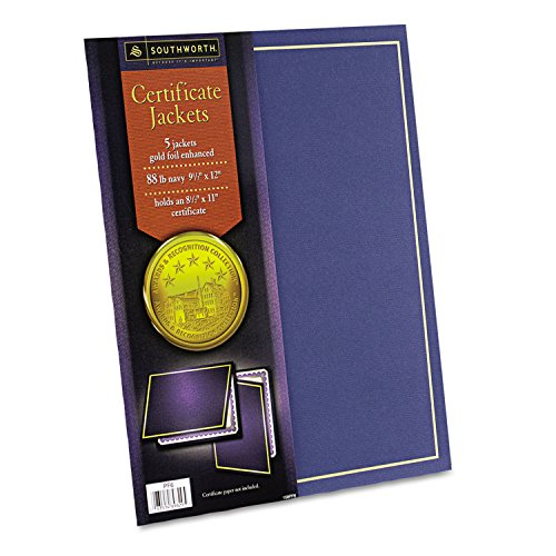 Southworth PF6 Certificate Jacket Navy w/Gold Border 88 lbs. 9-1/2 x 12 5/Pack by Southworth