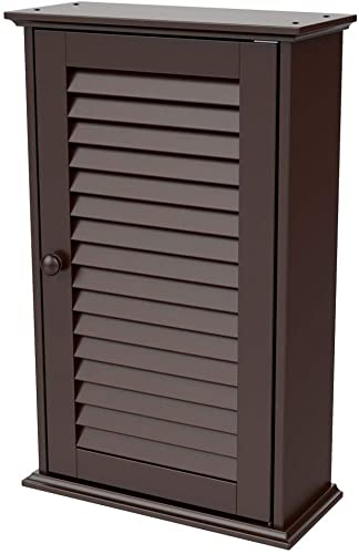 Yaheetech Wall Mounted Medicine Cabinet with Louver Single Door and Adjustable Shelves, Bathroom Storage Cabinet, 13.8in L x 5.9in W x 21.9in H, Espresso