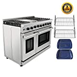 Thor Kitchen Pro-Style 48 inch Gas Range with 6 Burners and Double Ovens, Stainless Steel, LRG4801U