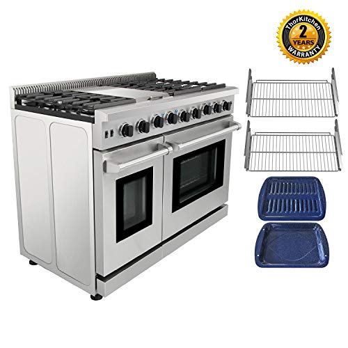 Thor Kitchen Pro-Style 48'' Gas Range with 6 Burners and Double Ovens, Stainless Steel, LRG4801U