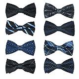 8 PACKS Elegant Men's Adjustable Pre-tied bow ties for Men Boys in Various Colors … (STYLE8)