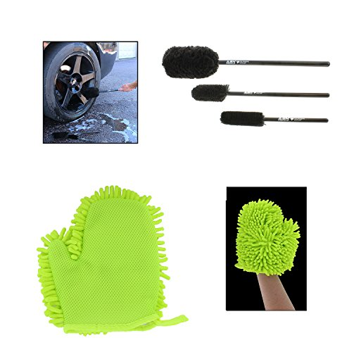 ABN Car Wash Cleaning 4-Piece Kit – (3) Tire Rim Wheel Woolies Brush Set Plus (1) Microfiber Washing Mitt with Thumb (Wheel Three Kit Cars)