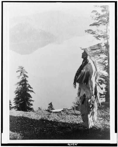 Photo: Praying,Spirits,Crater Lake,Klamath Indians,chiefs,feather headdress,OR,c1923 (Indian Chief Headdress For Sale)