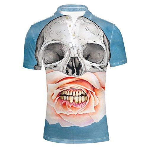HUGS IDEA Classic Men's Jersey Golf Polos Shirts Skull Crossbones Design T-Shirt Summer Fashion Short Sleeve Clothing