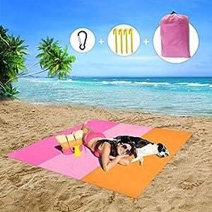 MMTX Portatile Impermeabile Coperta da Spiaggia, 210X200cm Telo Mare Antisabbia Tappetino Campeggio Accessori con 5… 8 spesavip