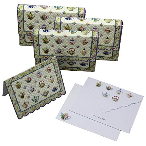 Embossed Mini Portfolio (Teapot Quilt Embossed Set of 10 Blank Note Cards, Envelopes, and Mini Portfolio Pouch, Designed by Carol Wilson (Three (3) Sets))