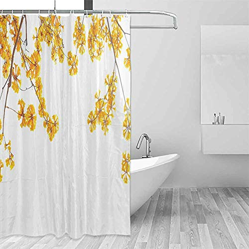 Fabric Shower Curtain Yellow Decor Flower Tree Branches Bloom Blossoming in Spring Garden Sunlight Nature Theme Home Bathroom Window Curtains W72 xL84 Golden Brown