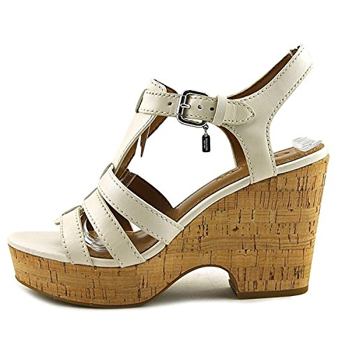 Coach Womens Kennedy Leather Open Toe Casual Platform Sandals, White, Size 5.5