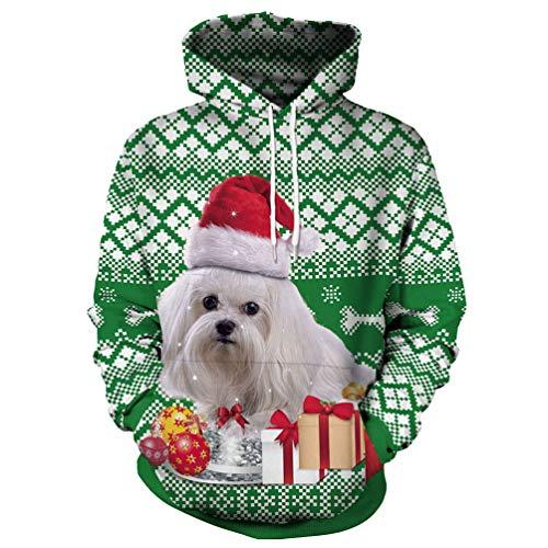 eacb04ff8708e Fashspo Unisex Realistic 3D Print Casual Christmas Pullover Hooded Hoodies  Sweatshirt with Pocket