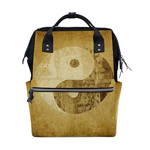 WIHVE Boy Girl Unisex Fashion canvas Vintage Taiji Yinyang Lightweight School Bag Laptop Backpack Bookbag Yin Yang Bag