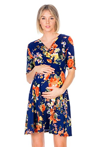 (My Bump Maternity Wrap Dress - Overlay Printed Baby Shower Nursing Pregnant Women (Made in USA) Floral XL)