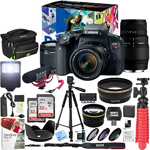 Canon EOS Rebel T7i DSLR Camera Deluxe Video Creator Kit with EF-S 18-55mm is STM Lens & Sigma 70-300mm Lens and 2 32GB SDHC Memory Cards + 58mm Wide Angle & Telephoto Lens Tripod Cleaning Kit Bundle
