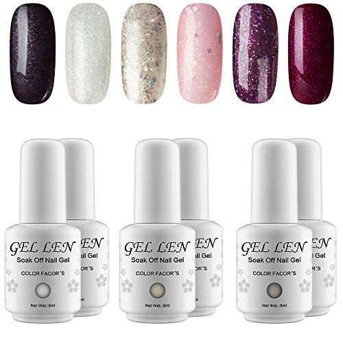 Gellen UV LED Gel Nail Polish Set, Trend Holographic Glitter