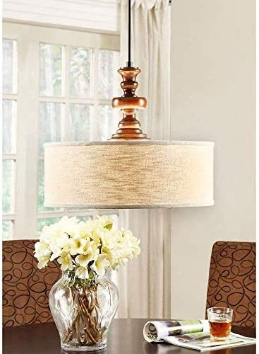Modern Farmhouse Chandelier for Dining Rooms, Kitchens and Breakfast Nooks Drum Light Fixture is Adjustable in Height Made of Wood and Fabric This Rustic Pendant Lamp Provides Warm Ample Lighting