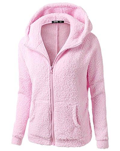 Maglione Outwear Donna Hooded Pink Kasen Cerniera Con Cappotto Cappuccio Caldo Felpa ROXq6