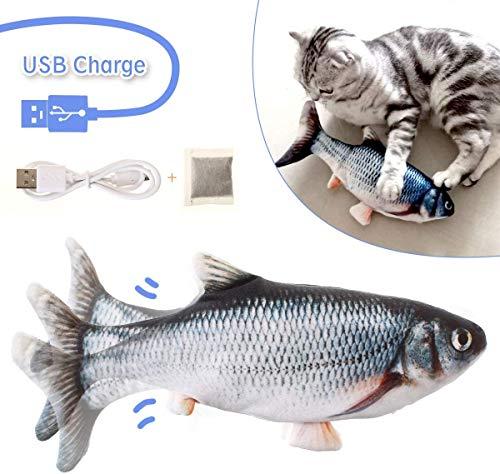 🥇 LIUMY Hierba gatera Eléctrica Juguete Pez para Gato,Peluche de juguete eléctrico de simulación Fish Fish con carga USB,Mascotas Interactivo de Felpa Pez para morder